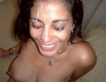 plein de sperme sur la tête